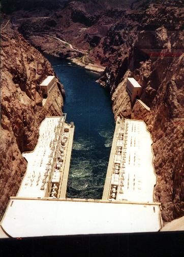 Hoover Dam, looking down from the top