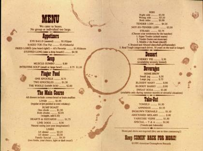 The inside of the menu