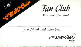 C.W. McCall Fan Club membership card, front